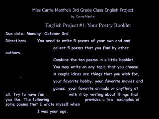 English Project 1: Your Poetry Booklet