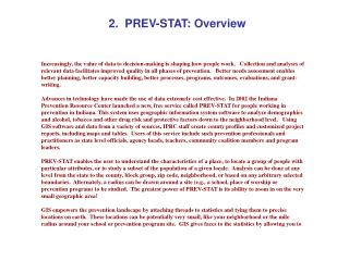 2.  PREV-STAT: Overview