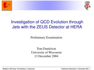Preliminary Examination   Tom Danielson University of Wisconsin 13 December 2004