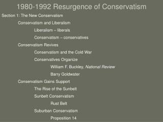 1980-1992 Resurgence of Conservatism