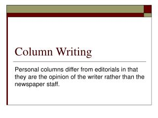Column Writing