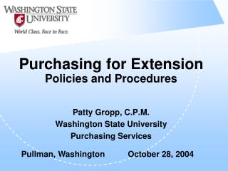 Purchasing for Extension Policies and Procedures