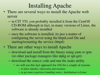 Installing Apache