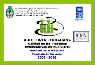 AUDITORIA CIUDADANA Calidad de las Pr cticas Democr ticas en Municipios