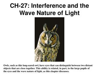 CH-27: Interference and the Wave Nature of Light