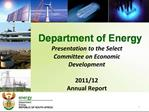 Presentation to the Select Committee on Economic Development  2011