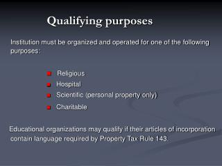Qualifying purposes