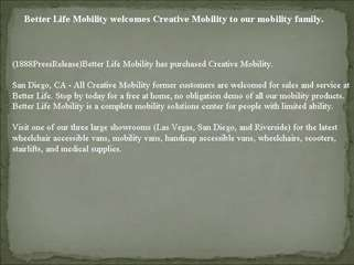 Better Life Mobility welcomes Creative Mobility to our mobil