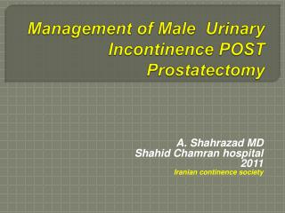 Management of Male  Urinary Incontinence POST Prostatectomy