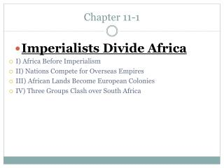 I Africa Before Imperialism