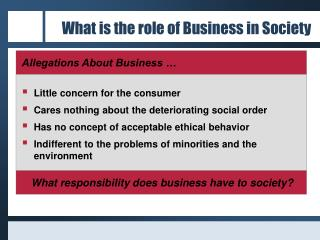 What is the role of Business in Society