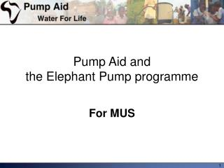 Pump Aid and the Elephant Pump programme