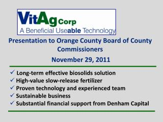 Presentation to Orange County Board of County  Commissioners  November 29, 2011