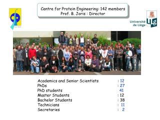 Academics and Senior Scientists                : 12 PhDs     : 27 PhD students                  41 Master Students    :