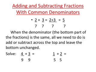 5-5 Adding and Subtracting Unlike Fractions