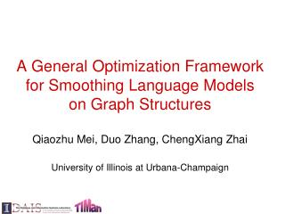 A General Optimization Framework for Smoothing Language Models on Graph Structures