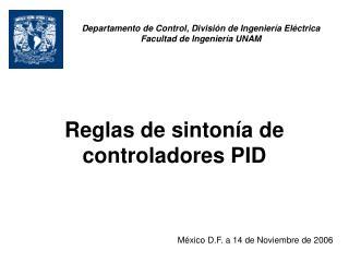 Reglas de sinton a de controladores PID