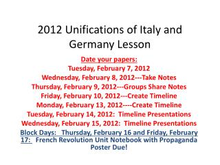 2012 Unifications of Italy and Germany Lesson