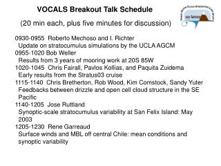 VOCALS Breakout Talk Schedule  20 min each, plus five minutes for discussion