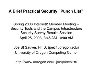 A Brief Practical Security Punch List