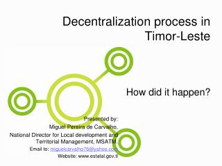 Decentralization process in