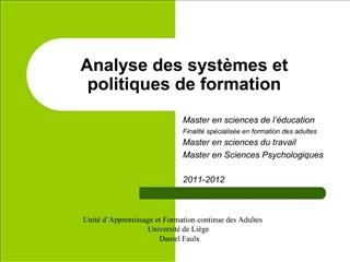 Analyse des syst mes et politiques de formation