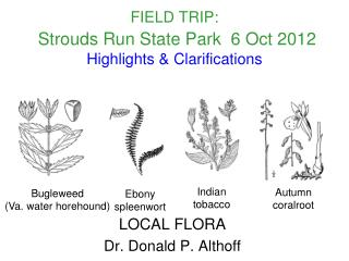 FIELD TRIP:   Strouds Run State Park  6 Oct 2012  Highlights  Clarifications