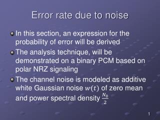 Error rate due to noise