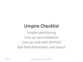 Umpire Checklist