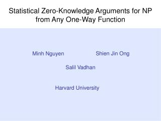 Statistical Zero-Knowledge Arguments for NP from Any One-Way Function