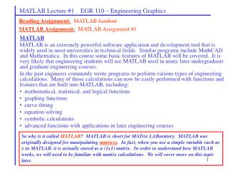 MATLAB Lecture 1    EGR 110   Engineering Graphics