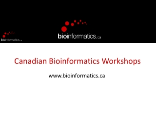 Bioinformatics Lecture Series  Introduction to DNA Analysis