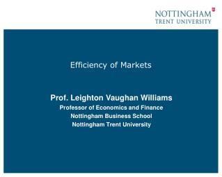 Efficiency of Markets