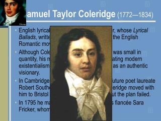 Samuel Taylor Coleridge 1772 1834