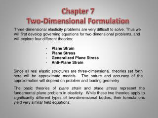 Chapter 7   Two-Dimensional Formulation