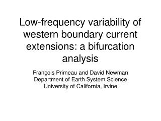 Low-frequency variability of western boundary current extensions: a bifurcation analysis