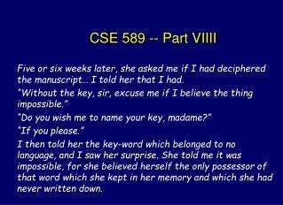 CSE 589 -- Part VIIII