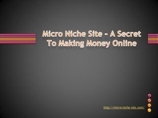 Micro Niche Site � A Secret To Making Money Online