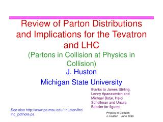 Review of Parton Distributions and Implications for the Tevatron and LHC Partons in Collision at Physics in Collision