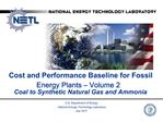 Cost and Performance Baseline for Fossil Energy Plants   Volume 2 Coal to Synthetic Natural Gas and Ammonia