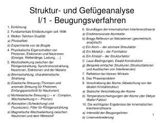 Struktur- und Gef geanalyse I