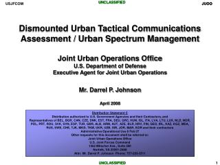 Dismounted Urban Tactical Communications Assessment