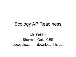 Ecology AP Readiness