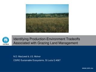Identifying Production-Environment Tradeoffs Associated with Grazing Land Management
