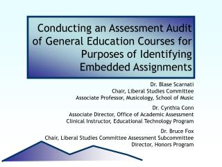 Conducting an Assessment Audit of General Education Courses for Purposes of Identifying Embedded Assignments