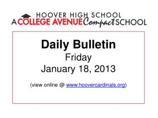 Daily Bulletin Friday January 18, 2013  view online  hoovercardinals