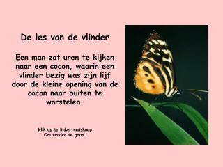 De les van de vlinder  Een man zat uren te kijken naar een cocon, waarin een vlinder bezig was zijn lijf door de kleine