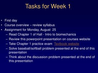 Tasks for Week 1