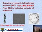Overview of research in Biophysics Institute NCU.  From DNA to collective behavior of organisms