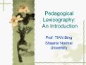 Pedagogical Lexicography:  An Introduction